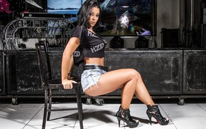 Picture sexy, legs, model, chair, jeans, brunette, look