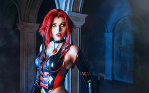 Picture girl, latex, cosplay, red hair, red lips, BloodRayne, BloodRayne