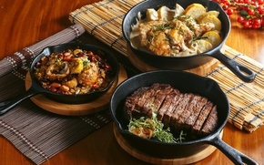 Picture meat, meals, pan