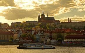 Picture river, home, Prague, Czech Republic, Vltava, Prague Castle, St. Vitus Cathedral