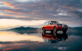 Picture sunset, the evening, Rolls-Royce, 2018, Cullinan