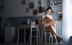Picture girl, retro, room, violin, USSR, newspaper, Stalin, portraits, True