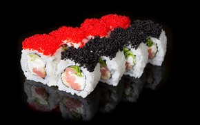 Picture background, caviar, sushi, rolls
