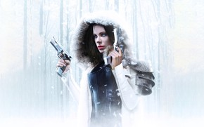 Picture Girl, Kate Beckinsale, Action, Fantasy, Beautiful, Winter, Tree, Warrior, Hybrid, Snow, White, Female, Guns, Women, …