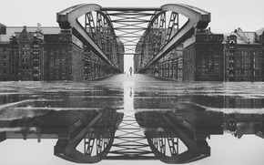 Picture reflection, bridge, the city, Germany