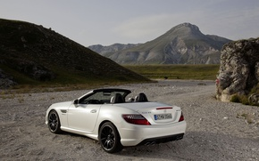 Picture mountains, Mercedes-Benz, convertible, SLK