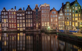Picture water, design, lights, Windows, home, the evening, pier, Amsterdam, lights, channel, Netherlands