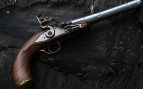 Wallpaper flint, Gun Queen Anne, macro, Queen Anne pistol