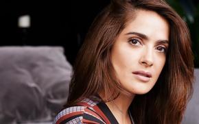 Picture look, face, portrait, makeup, actress, hairstyle, brown hair, Salma Hayek, Salma Hayek, photoshoot, bokeh, Horst …