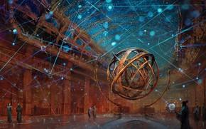 Wallpaper fantasy, stars, people, map, digital art, artwork, fantasy art, sphere, Wizard