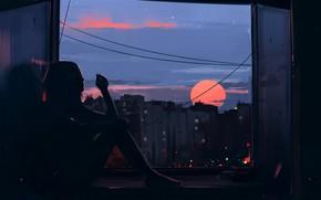 Wallpaper city, dark, girl, twilight, smoking, sunset, barefoot, evening, sun, mood, window, cigarette, artist, digital art, ...