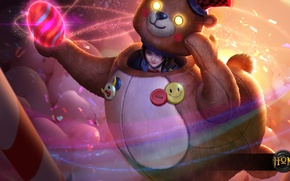 Picture toy, bear, costume, girl, Heroes of Newerth, Midas, Goldie Midas, Circus Bear