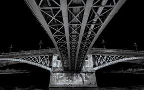 Picture river, support, Budapest, The Danube, Margaret bridge