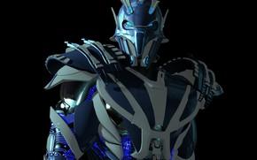 Picture robot, black background, 3D graphics