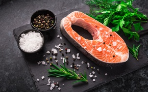 Picture food, fish, dill, parsley, seafood, spices, rosemary