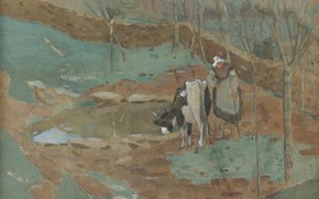 Picture figure, watercolor, Woman and cow in a landscape, Frederick Carl Frieseke