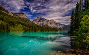 Picture forest, the sky, clouds, trees, mountains, lake, beauty, Canada, Yoho National Park, Emerald Lake