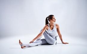 Wallpaper brunette, pose, female, workout, yoga