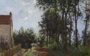 Picture trees, landscape, house, picture, Camille Pissarro, The road at the Farm
