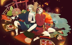 Picture card, girl, guy, two, Vocaloid, Vocaloid, Kagamine Len, Kagamine Rin