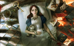 Picture flame, blood, rabbit, Alice, knife, destruction, game, keys, Alice in Wonderland, Alice, in bed, playing …