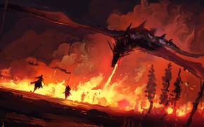 Picture fire, fantasy, trees, painting, dragon, battle, Game of Thrones, digital art, knights, Song of Ice …