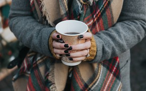 Picture girl, coffee, hands, Cup