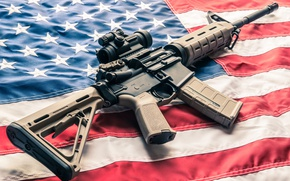 Picture Red, Stars, United States, Blue, White, Flag, AR-15