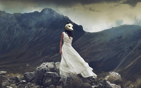 Picture girl, mountains, stones, the situation, dress, mask