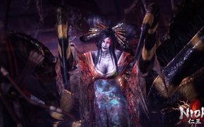 Picture woman, the game, spider, the demon, spider, nioh