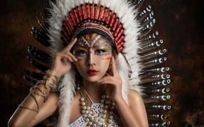 Picture look, decoration, style, feathers, hands, makeup, Asian, roach