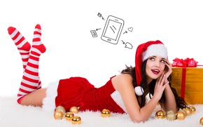 Wallpaper balls, new year, white background, makeup, hat, Christmas, smile, lies, stockings, dress, thoughts, ribbons, maiden, ...