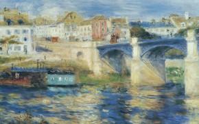 Picture river, picture, the urban landscape, Pierre Auguste Renoir, Pierre Auguste Renoir, The bridge at Chatou