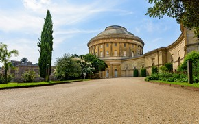 Picture road, trees, the building, England, house, England, Ickworth