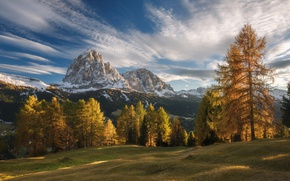 Picture autumn, forest, the sky, clouds, light, mountains, Alps
