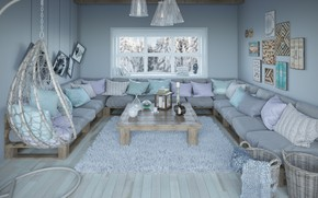 Wallpaper window, comfort, living room, sofa, style