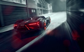 Picture Lamborghini, Light, Speed, Hypercar, Rear, The Third Millennium