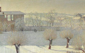 Picture winter, trees, landscape, house, picture, Angelo Barabino, Snowfall in Tortona