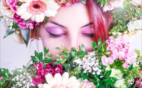 Picture girl, flowers, calm