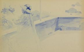 Picture figure, watercolor, Henri Edmond Cross, Henri Cross, The woman on the Balcony