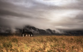 Picture field, fog, temple, Iceland