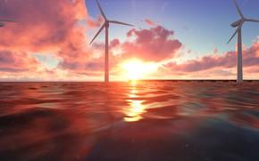 Picture sea, sunset, windmills