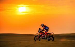Wallpaper Sunset, The sun, Sport, Speed, Motorcycle, Racer, Moto, KTM, Bike, Rally, Dakar, Dakar, Rally, Moto, ...