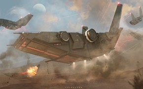 Picture fire, transport, ship, explosions, orca troop carrier and snapper drop ship