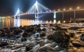 Picture night, bridge, lights, river, stones, shore, England, lights