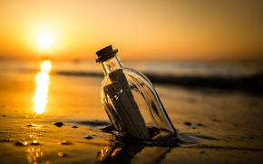 Picture sea, letter, sunset, bottle, message