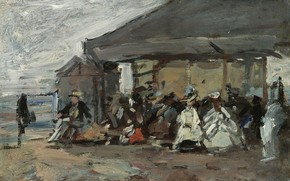 Picture people, picture, house, genre, Eugene Boudin, Eugene Boudin, The scene on the Beach