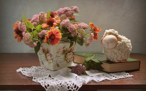 Wallpaper flowers, June, still life, sheep, summer, composition