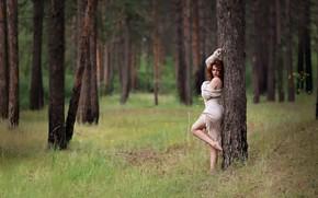 Picture forest, summer, girl, Kazakhstan, Murat Kuzhakhmetov, Forest girl