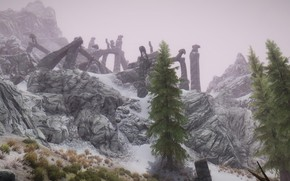 Picture grass, snow, fog, spruce, ruins, grass, snow, fog, skyrim, Skyrim, ruins, fir-tree, elder scrolls, tes …